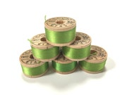 BELDING CORTICELLI - Vintage Thread - Pure Silk - Green #9743 - 10 yd Spools - Buttonhole Embroidery Ribbon Fly Tying Fishing