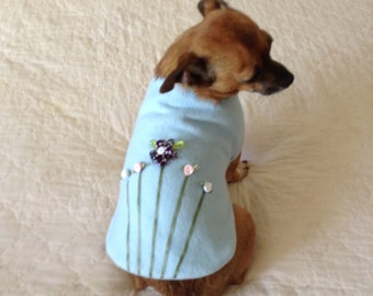 "Coat for Small Dog Fleece, Toy Teacup Size ""Flower Garden,"" Sky Blue - Pet Clothes Clothing"