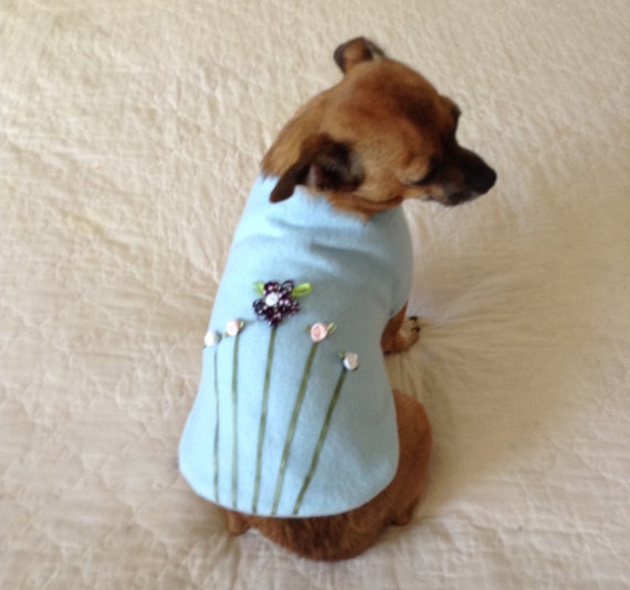 "Dog Outfit Fleece ""Flower Garden"" Coat, Custom for Small Dogs - Sky Blue with Multi Floral Trim - Toy and Teacup Poodle Size Pet Clothes"