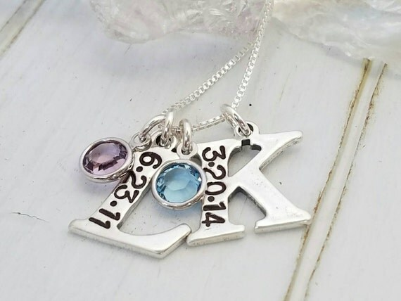 Custom 2 Initial necklace, Sterling silver, Initial Date Necklace, 2 Letter Initials, Personalized Mother Necklace, Mommy Birthstone Jewelry