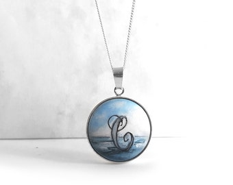 Sterling Silver Necklace, Hand Painted Personalized Initial Necklace, Tiny Ocean Painting Wooden Pendant with Silver Bezel & Chain