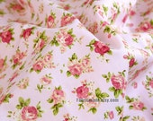Pink Rose Flower Cotton Fabric In Light PINK Cotton Shabby Chic Floral Fabric - 1/2 yard