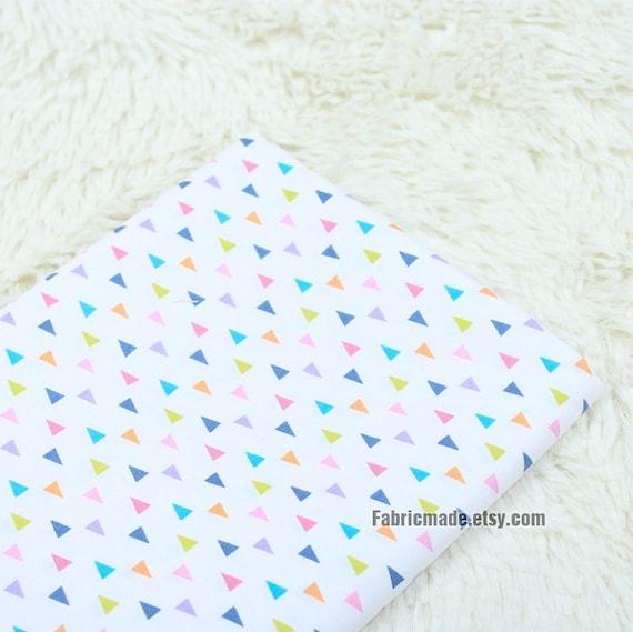 Pastel Triabgle Cotton Fabric, White Cotton With Pastel Tiny Triangle Geometric - 1/2 yard