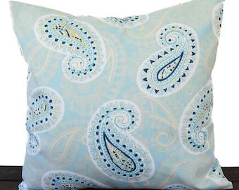 Throw pillow cover Coastal Blue Saffron Yellow white cushion cover traditional contemporary modern home decor Peru Paisley