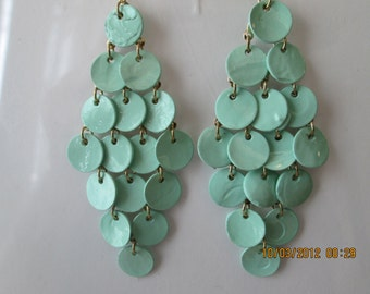 Pale Blue/Green Layered Disc Beads Dangle Earrings