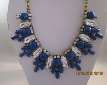 Deep Gold Tone Chain Necklace with Dark Blue Beads, Clear Crystals and Clear Rhinestone Pendants
