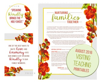 August 2016 Visiting Teaching Message Printable Instant Download - LDS - Mormon - VT Message