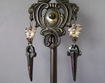 Raku ceramic Spike fine silver earring, artisan earring, gunmetal spike jewelry, textured silver, rocker chic, scorchedearth, AnvilArtifacts