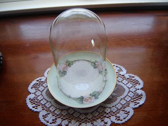 Vintage dome cloche en verre glass globe display globe with for Cloche verre decorative