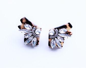 Tortoiseshell Crystal Stud Earrings