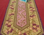 Spring Purple and Green Iris  and Tiny Tulips Table Runner