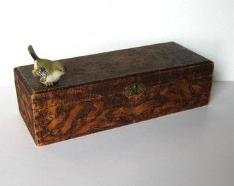 "SALE, 50's wooden Flemish Art glove box, hand carved hinged wood box, Art Nouveau, handkerchief box, jewelry storage, 5"" x 13"", gift idea"
