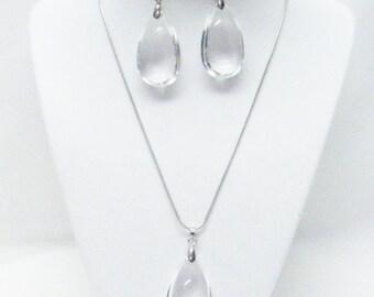 Clear Glass Tear Drop Accent Pendant Necklace & Earrings Set