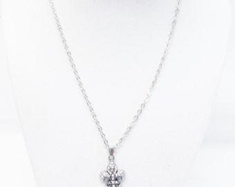 Petite Silver Plated Fleur de Lis w/Rhinestone Charm Necklace