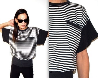 black and white striped t shirt 80s vintage t shirt batwing oversized new wave nautical white t shirt black t shirt duran duran totally 80s