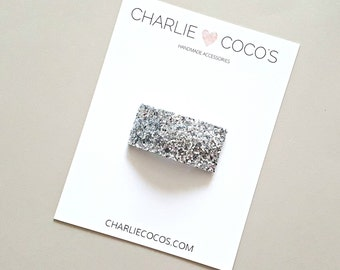 Silver Glitter Snap Hair Clip // Baby Girl Glitter Snap Hair Clip by charlie coco's