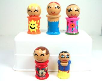 Spool Dolls, Peg Dolls, Wood Dolls, Colorful Children's Dolls, Hand painted wood, Woodcrafts, Painted Dolls, Colorful Dolls