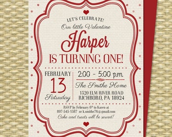 Valentine's Day Birthday Invitation 1st Birthday First Birthday Little Sweetheart Our Little Valentine Red Hearts Cream ANY COLORS