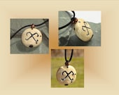 Jumis Necklace, Baltic Pendant, Pagan Jewelry, Stone Glyph, Pottery Focal Bead