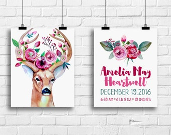 Deer antlers art print, birth stat print, birth announcement, tribal boho nursery decor, baby girl rustic nursery wall art, A-2031