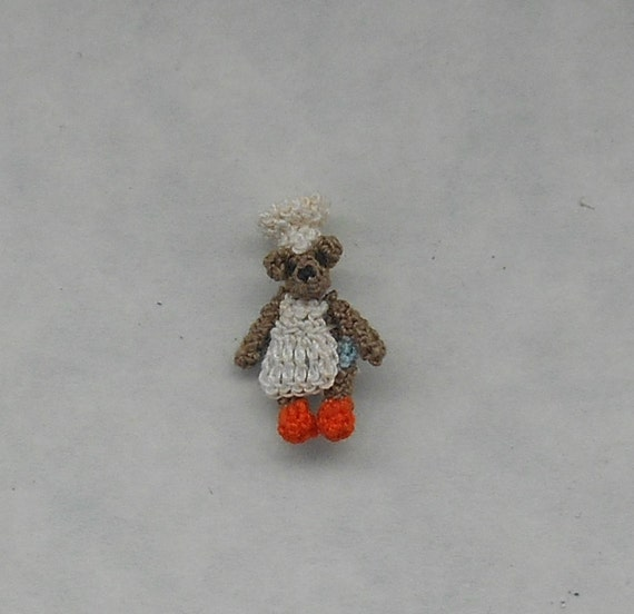 Amigurumi Doll House : Micro Crochet Chef Teddy Bear. Micro Amigurumi. Doll house
