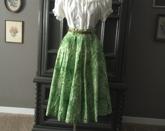 50s Green Rose Cotton Summer Skirt