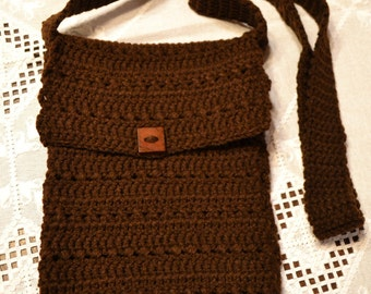Crochet Cross Body iPad Tablet Device Cover Sleeve Brown Wooden Button Handmade Littlestsister