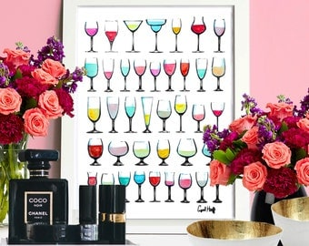 Wine Glasses Galore Watercolor Pencil Print | Wall Art, Home, Kitchen, Illustration, Decoration, Glass Drawing, Alcohol Beverage Painting