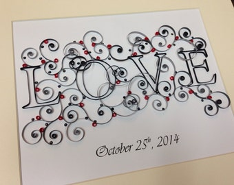 Qulling Framed Art LOVE | Valentines Day Gift | Wedding