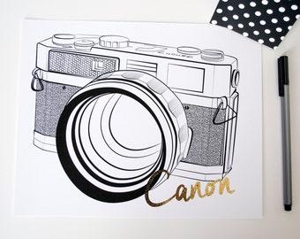 Canon 7 Camera Gold Foil Home/Office Print