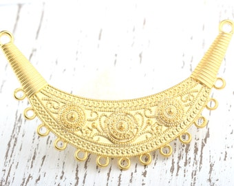 Ethnic Tribal Necklace Focal Collar Pendant with Loops- Gold Plated, 1 piece // GP-449