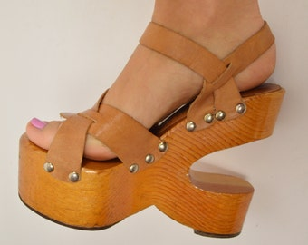 60's Kimel Sabots wooden sculptural platform RARE collectible vintage shoe size 7
