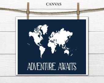 World Map Custom Canvas  - Nursery and Home Decor Canvas - Choose Size and Colors