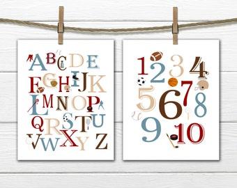 Sports Themed Alphabet  and Number Print Set  -  Custom Colors - Sports  Nursery Decor