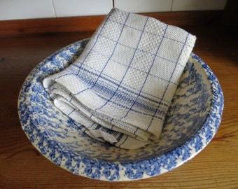 Free Ship Wordw Swedish    Handwoven Thickly Linen Towel Blue Stripes Kitchen    Dish Cloth Napkin  Wrap  Bath Cloth Torchon Sweden Unused