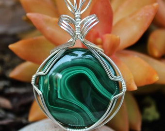 Malachite Stone Pendant, Sterling Silver Wire Wrapped, Emerald Green Stone Pendant, Handmade Stone Jewelry Necklace, Free Shipping USA