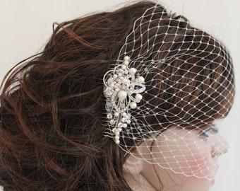 Wedding fascinators,Wedding headpiece,Bridal birdcage veil,Wedding veil,Bandeau veil,Bridal fascinator,birdcage veil,Ivory viel,Wedding comb