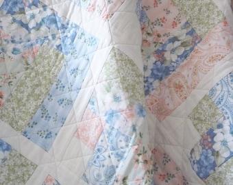 GIRL QUILT, florals, floral quilt, peach, light green, soft blue, floral quilt