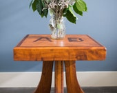 vintage handmade wood table with inlay accents. beautiful wood grain. mid century furniture. retro end table.