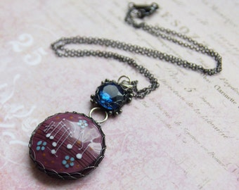 Wire Wrapped Pendant - Sterling Silver Necklace - Lampwork Glass Pendant - Music Note Jewelry - Aubergine Glass Pendant