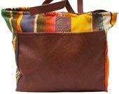 Diaper Bag Sayulita Yellow- Handmade Bohemian Fabric & Leather-Environmentally Conscious- purse/antique/pouch/hand bag/designer/vintage/tote