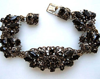 Black Glass Germany Bracelet, Ornate Silver Filigree Links, Polished Marquis Stones, Mirror Glass Sets, Goth Romance Gift