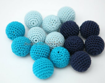 """Crochet beads 5 PCS 3/4"""" 20 mm Blue tones Wooden crochet cotton beads Crocheted bead Round beads Necklaces"""