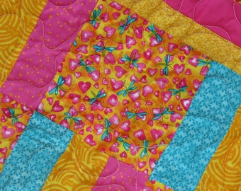 Baby Quilt - Baby Girl Quilt - Dragaon Fly & Hearts Baby Girl Quilt