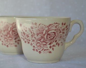 England Iron Stone Coffee Cups EIT LTD  with Red Foral Rose Pattern