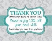 "Printable Thank You Cards - 4x6"" or 5x7""- Thanks|Postcard Size|Customer Appreciation|Coupons|Shop Promotion|Elegant|Cards|Damask|Gracias"