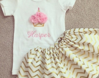 pink and gold cupcake first birthday outfit