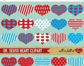 80% off Dr SEUSS Clipart BLUE RED Digital Scrapbook Elements Seuss Collage Sheet