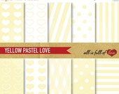 80% off DIGITAL Scrapbooking PAPER Pack Yellow patterns polka dots stripes Digital Download Valentines papers 12/15