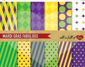 50% Off MARDI GRAS Paper Digital Paper Green Purple Yellow Background Patterns Printable Scrapbook
